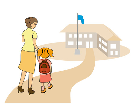 first class: Illustration of a Mom taking her daughter to school Illustration