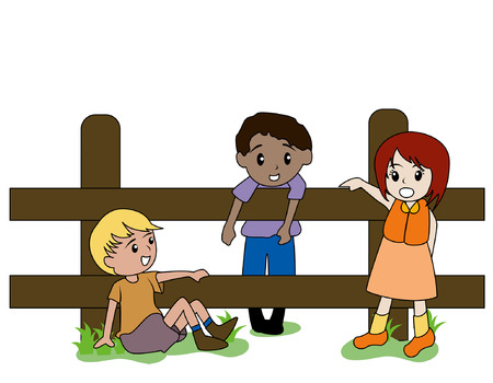 children talking: Ilustraci�n de ni�os en la granja Vectores
