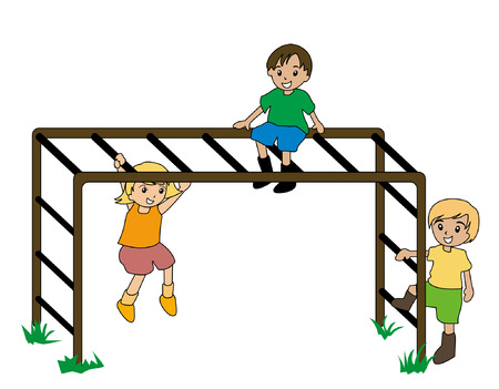 Illustration of Kids Playing on Monkey Bar Illustration