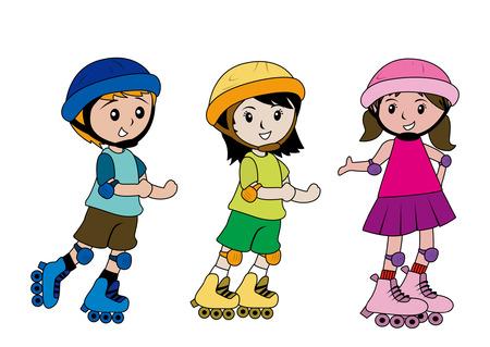 patinando: Ilustraci�n Infantil de patinaje