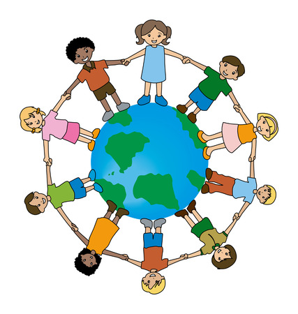 world group: Illustration of Kids Around the World Illustration