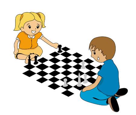 ajedrez: Ilustraci�n de ni�os jugar ajedrez Vectores