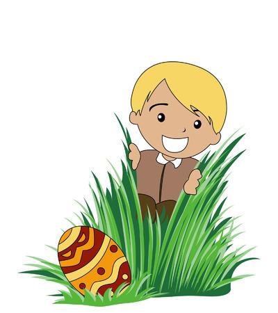 Illustration of a Boy finding an Easter Egg Illustration