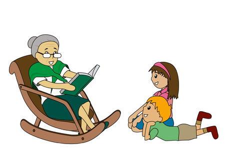 grand kid: Illustrazione di Kids ascoltando le storie di nonna