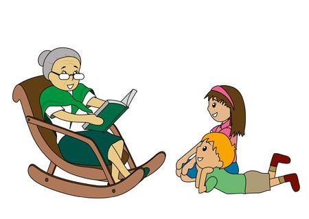 grandmas: Ilustraci�n de los ni�os a escuchar historias de la abuela Vectores