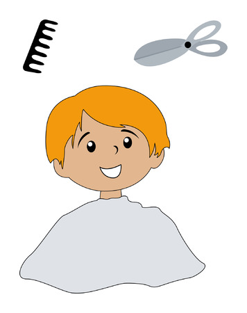 comb: Illustration of a Kid and a comb and scissors