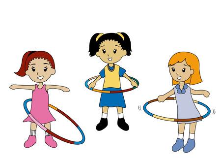 playmates: Ilustración de niños jugando aros hula