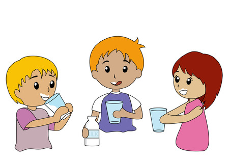 kids glasses: Illustration of Kids Drinking Milk