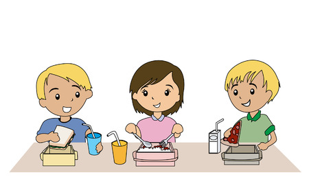 cafeteria: Illustration of Kids eating Packed Lunch