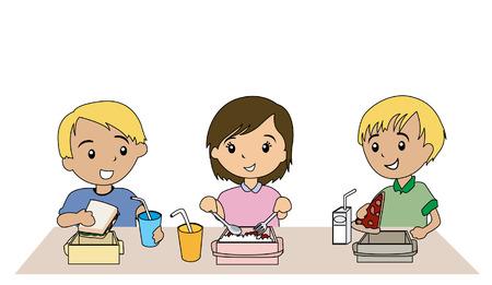 Ilustración de niños comiendo almuerzo empacado  Ilustración de vector