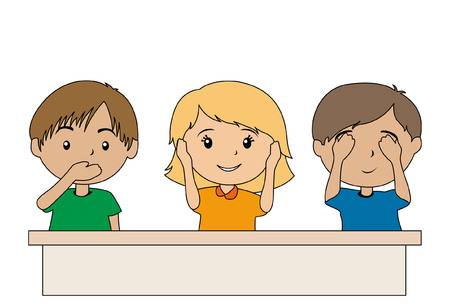 phrases: Illustration of Kids gesturing the saying Speak, Hear and See No Evil