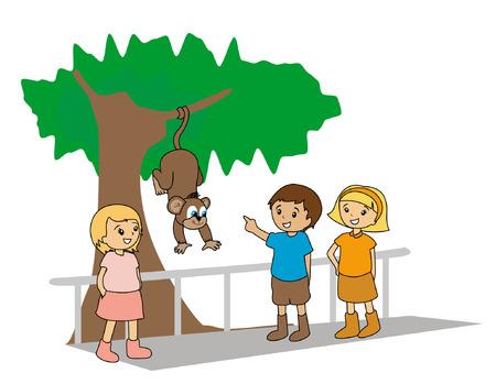 zoologico caricatura: Ilustraci�n de ni�os en el Zoo