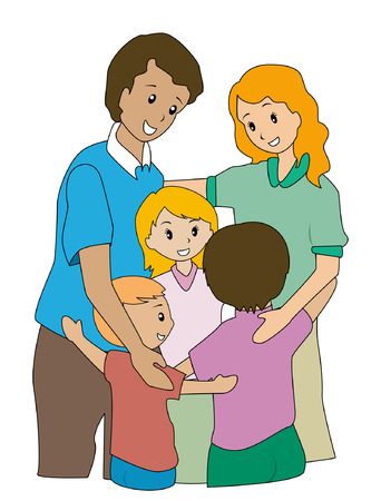 complete: Illustration of a Family Hugging