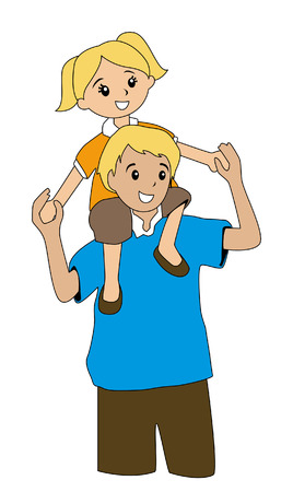 free vector art: Illustration of a Father and his daughter Illustration