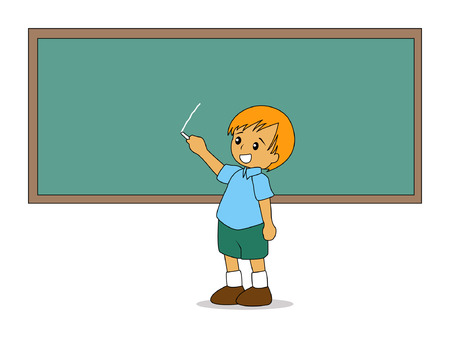 teaching children: Illustration of a Kid writing on the Board