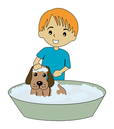 Illustration of a Kid Bathing his Dog