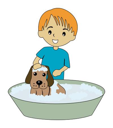 lavabo: Ilustraci�n de un hijo de ba�o de su perro