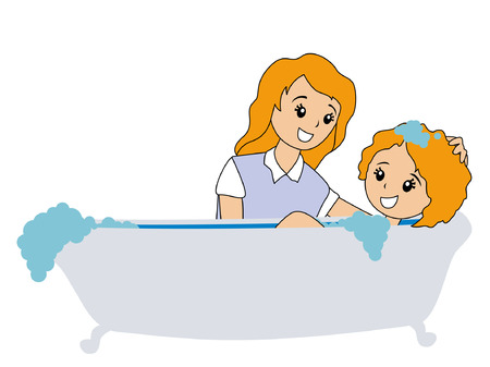 bath tub: Illustration of Mom and Daughter in Bath