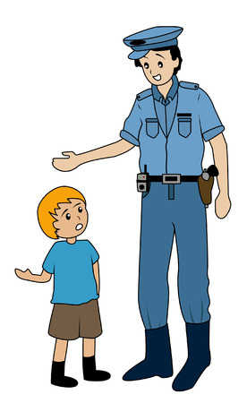 truthfulness: Illustration of a Lost Child asking Policeman for Directions