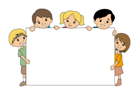 activity cartoon: Illustration of Kids holding a Blank Board