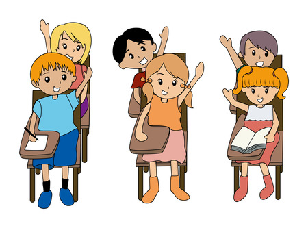 student with books: Illustration of Kids in Class