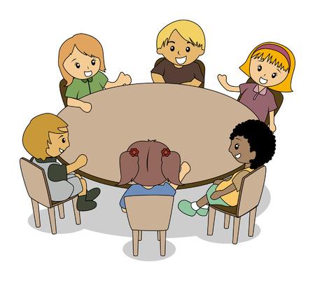 Illustratie van de Kids op de conferentie Tabel