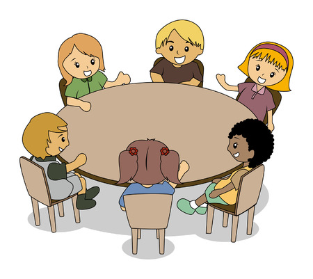 Illustration of Kids at the Conference Table  Illustration