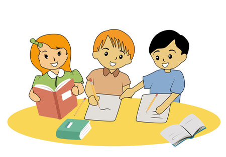 Illustration of Kids Studying
