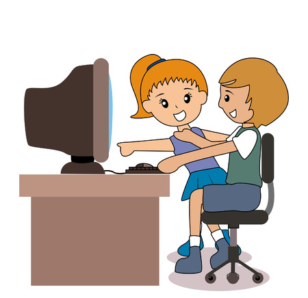 Illustration of Kids with the Computer Illustration