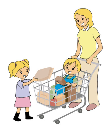 family shopping: Illustration of Mother and Kids at the Grocery Store Illustration