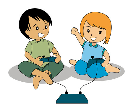 home entertainment: Illustration of Kids playing video games