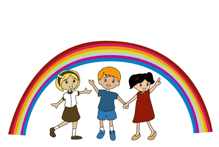 Illustration of Kids and a Rainbow