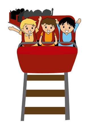 Illustration of Kids in a Roller Coaster
