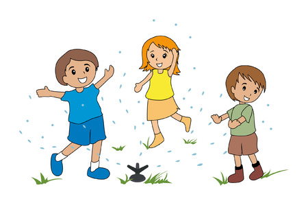 kids drawing: Illustration of Kids Playing with the Sprinkler Illustration