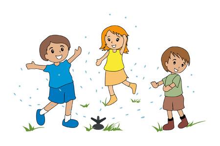 drench: Illustration of Kids Playing with the Sprinkler Illustration