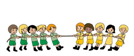 Illustration of Kids Playing Tug of War Vector