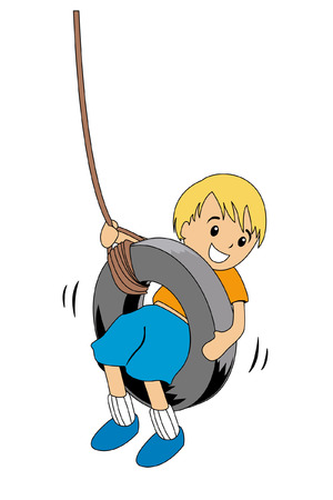 rope vector: Illustration of a Swinging Boy Illustration