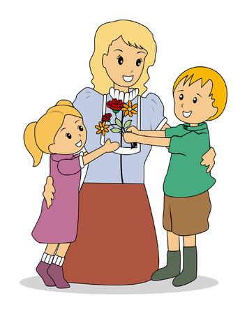 mum and daughter: Illustrazione di Kids dando fiori Vettoriali