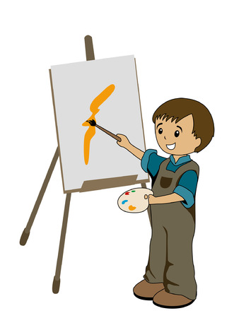 canvas painting: Illustration of a Kid Painter Illustration