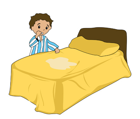 wet: Illustration of a Boy and a wet bed