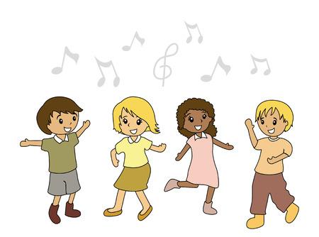 kid vector: Ilustraci�n de ni�os bailando