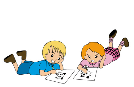 clip art draw: Illlustration of Kids Drawing on Paper