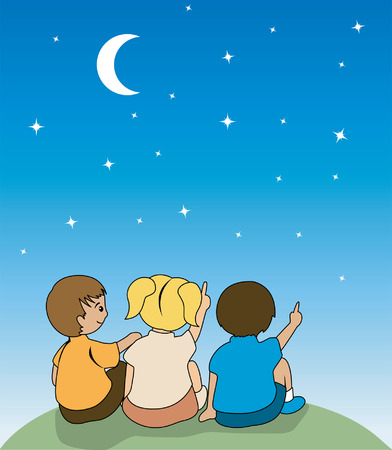 moon and stars: Illustration of Kids watching the stars