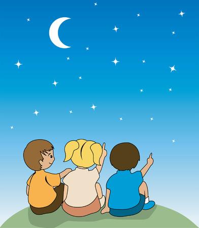Ilustración de niños viendo las estrellas Foto de archivo - 1830409