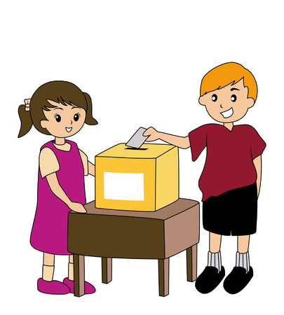 Illustration of Kids with Ballot Box Vector