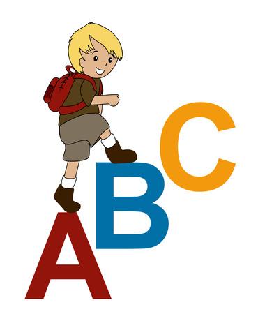 ni�o escalando: Ilustraci�n de un muchacho caminando hasta en ABC Vectores