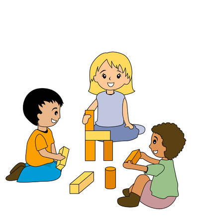 Kids Playing with Blocks Vector