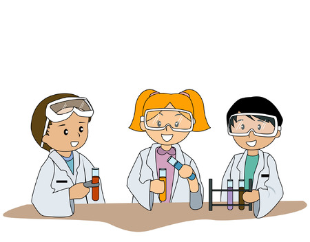 lab test: Illustration of Kids at the Chem Lab