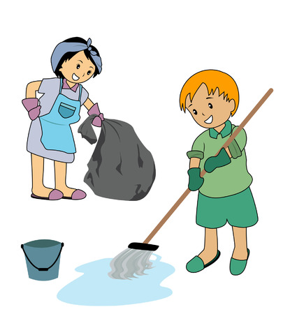mop: Illustration of Kids cleaning