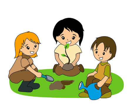 Illustration of Kids Planting